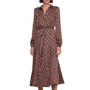 BCBGMAXAZRIA Geometric Blouson Dress Small